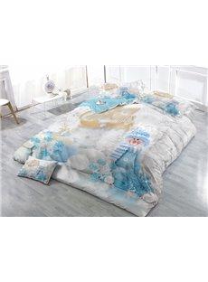Adorable Snowman Wear-resistant Breathable High Quality 60s Cotton 4-Piece 3D Bedding Sets