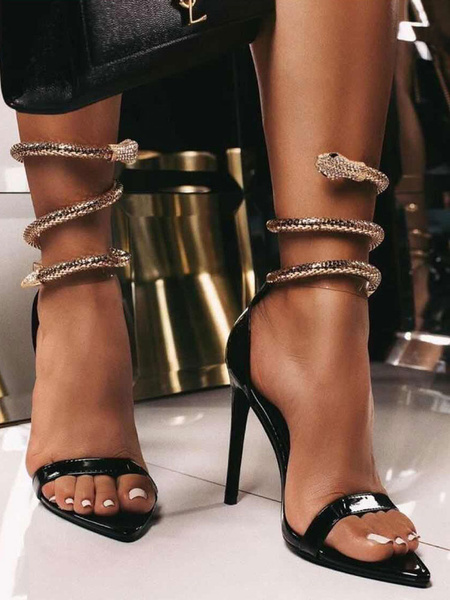Milanoo High Heel Sexy Sandals Stiletto Black Patent PU Upper Pointed Toe Metal Details Sexy Sandals