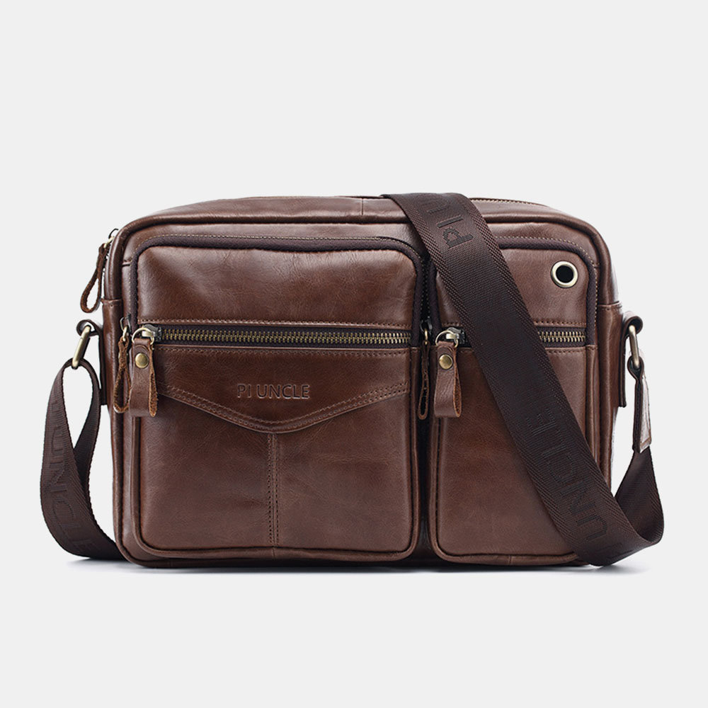 Men Genuine Leather Casual Business Headphone Plug Crossbody Bag