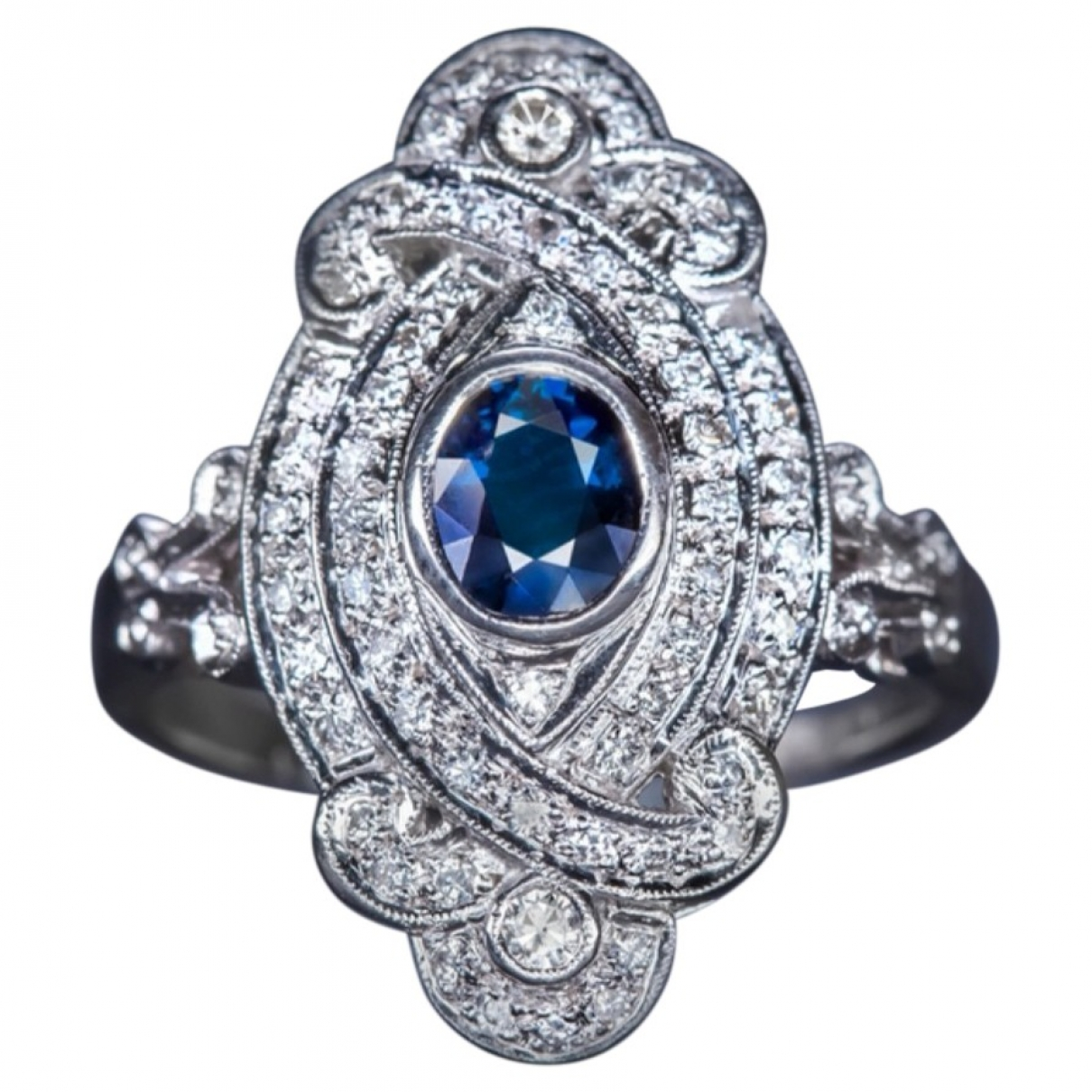 Non Signé / Unsigned Saphir Blue White gold ring for Women \N