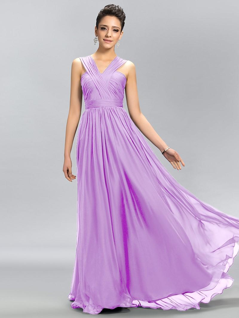 Simple Sleeveless Floor-Length Chiffon A-Line Bridesmaid Dress