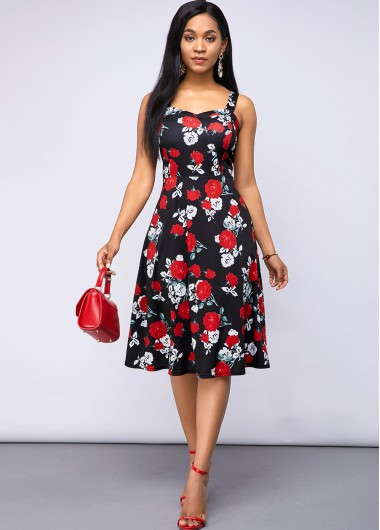 Black Dresses A Line Floral Print Spaghetti Strap Dress - 10