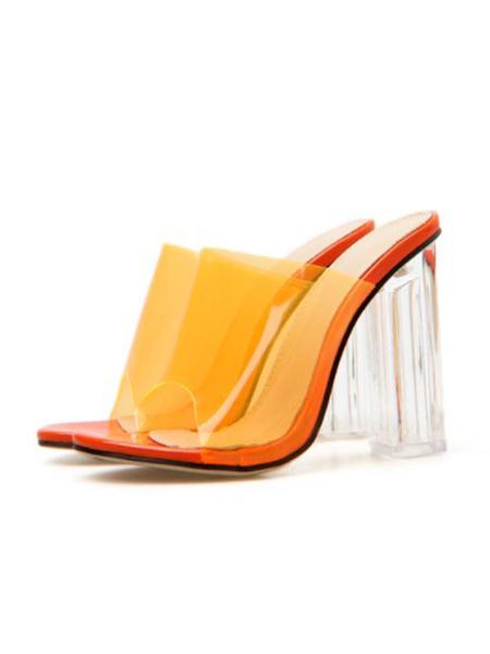 Milanoo Womens High Heel Sandals Open Toe Backless Clear Summer Shoes