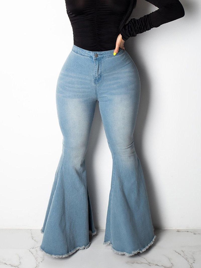 Ericdress Washable Bellbottoms Slim Jeans