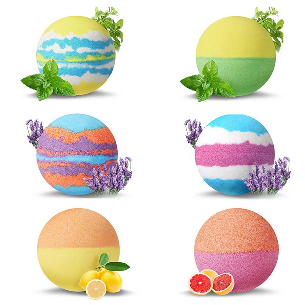 6pcs Bath Salt Ball Bubble Shower Bombs Oil Spa Body Skin Whitening - Package A