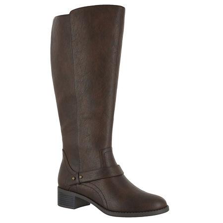 Easy Street Womens Jewel Riding Boots Block Heel, 9 Wide, Brown