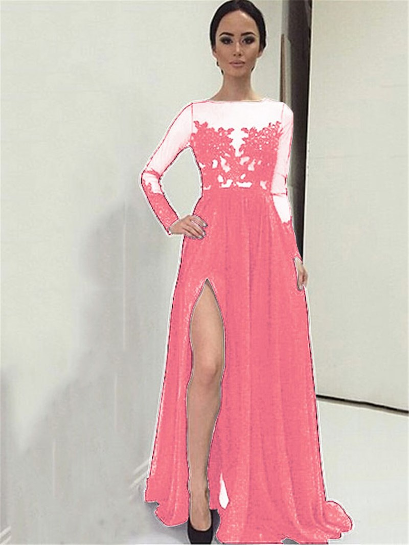 Ericdress A-Line Bateau Appliques Split-Front Evening Dress With Long Sleeves