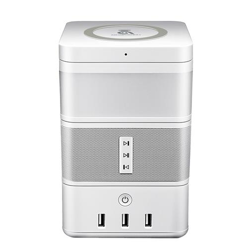 Geekbes Free Cube Gesture Induction Ambiance LED Light (White) + Wireless Charger (White) + Power Strip (White)