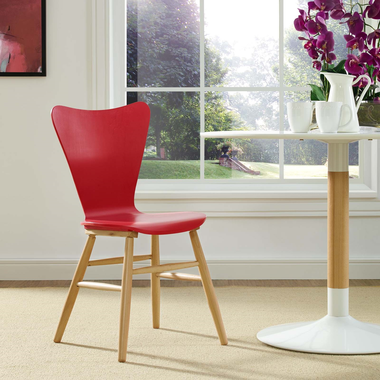 Cascade Wood Dining Chair in Red