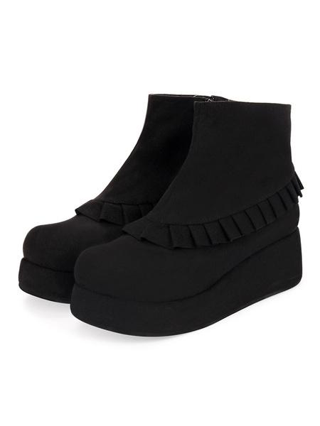 Milanoo Academic Style Lolita Footwear Corduroy Black Frill Wedge Heel Lolita Bootie