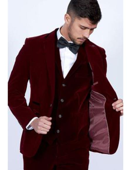 Mens Burgundy Single Breasted Peak Lapel Velvet vested suit
