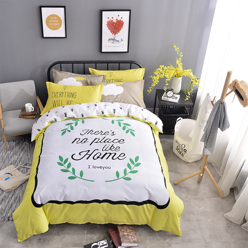 Letters and Green Leaves Printed Cotton Kids Duvet Covers/Bedding Sets