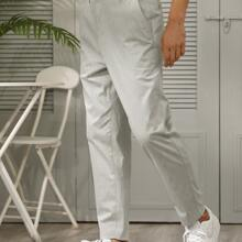 Men Slant Pocket Tailored Pants