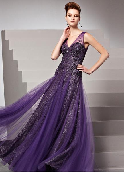 Milanoo Grape V-Neck Applique Sheath Matte Satin Women's Evening Dress