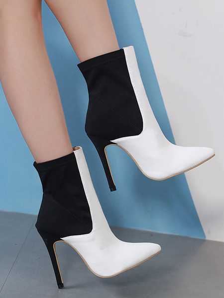 Milanoo White Ankle Boots Women Pointed Toe Patchwork High Heel Booties