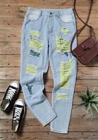 Ripped Color Block Pocket Jeans - Light Blue