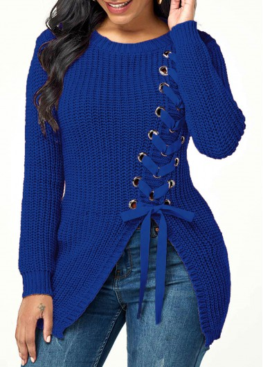 Women'S Blue Rib Knit Lace Up Asymmetric Hem Sweater Solid Color Round Neck Long Sleeve Casual Jumper By Rosewe - XXL