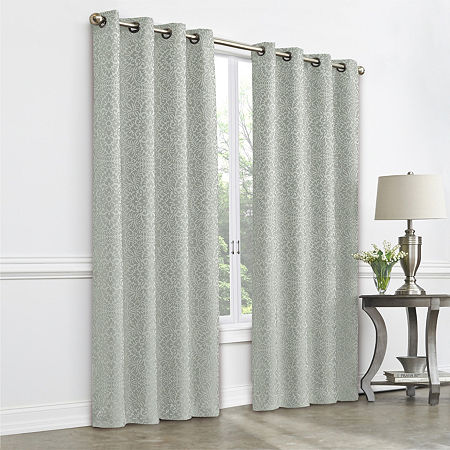 JCPenney Home Plaza Tapestry Blackout Grommet-Top Single Curtain Panel, One Size , Green