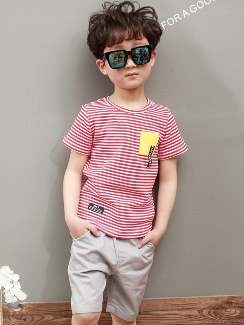 Ericdress Letter Stripe T Shirt Plain Shorts Boy's Summer Outfits