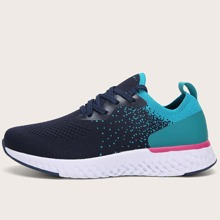 Lace Up Decor Two Tone Knit Sneakers