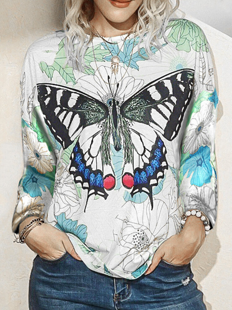 Laeves Butterfly Print Long Sleeve O-neck Blouse For Women