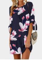 Floral Tab-Sleeve Mini Dress