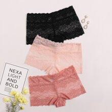 Plus Floral Lace Panty Set - 3 Pack