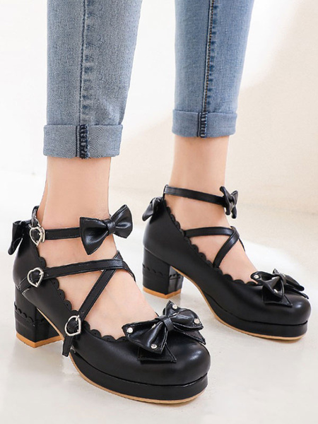 Milanoo Sweet Lolita Footwear Bows Round Toe PU Leather Lolita Pumps
