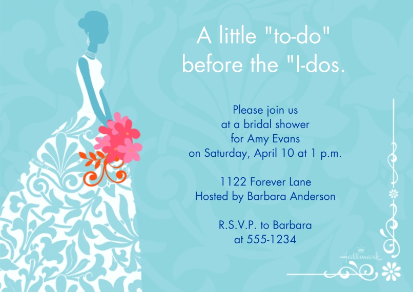 Wedding Shower Invites 5x7 Cards, Premium Cardstock 120lb with Rounded Corners, Card & Stationery -Silhouette of Bride