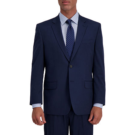 JM Haggar 4-Way Stretch Classic Fit Houndstooth Classic Fit Stretch Suit Jacket, 48 Long, Blue