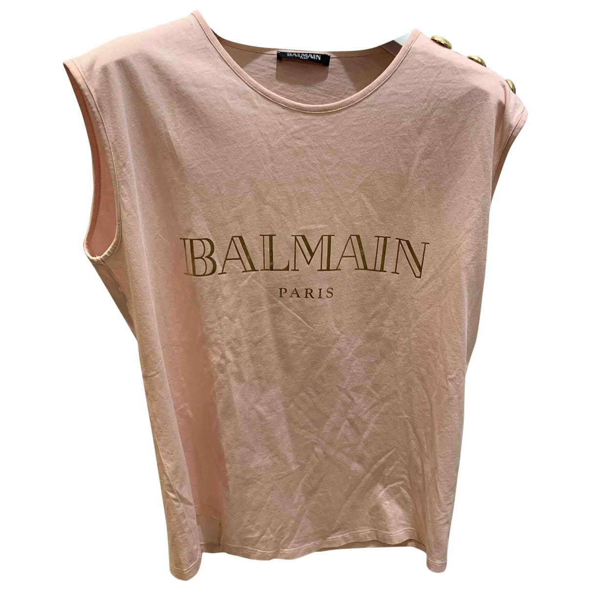 Balmain \N Pink Cotton  top for Women 38 FR