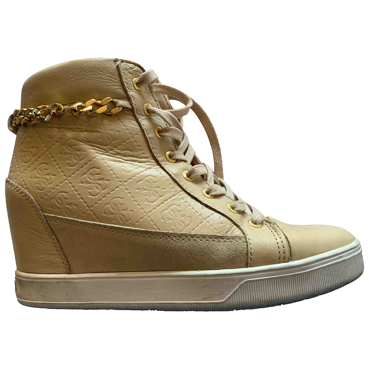 Guess \N Beige Patent leather Trainers for Women 39 EU