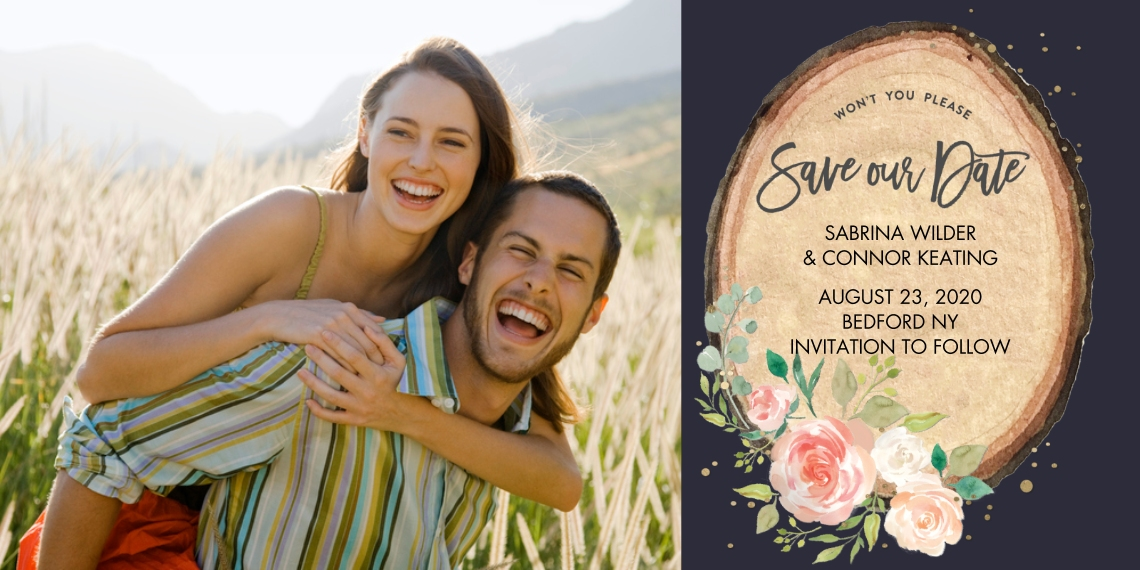 Save the Date Flat Matte Photo Paper Cards with Envelopes, 4x8, Card & Stationery -Save the Date Wood Plaque Floral