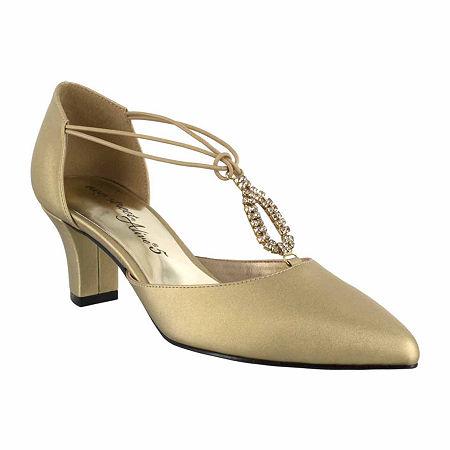Easy Street Womens Moonlight Pumps Cone Heel, 6 Wide, Yellow