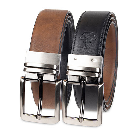 JF J.Ferrar Stretch Reversible Dress Men's Belt with Feather Edge, Small , Brown