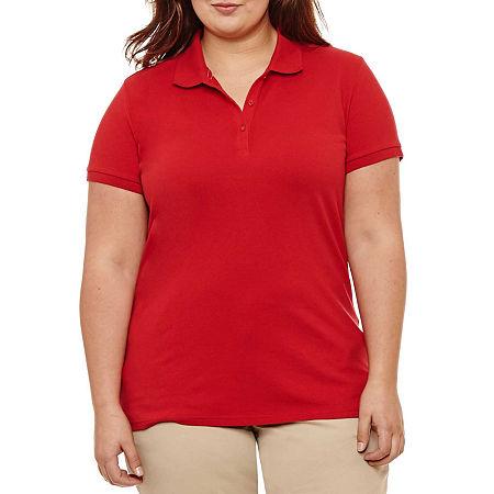 Arizona Short-Sleeve Polo Shirt - Juniors Plus, 1x , Red