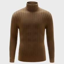 Men High Neck Rib-Knit Sweater