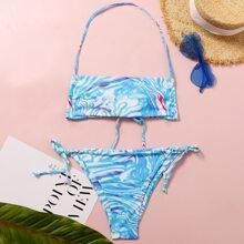 Marble Print Halter Tie Side Bikini Swimsuit