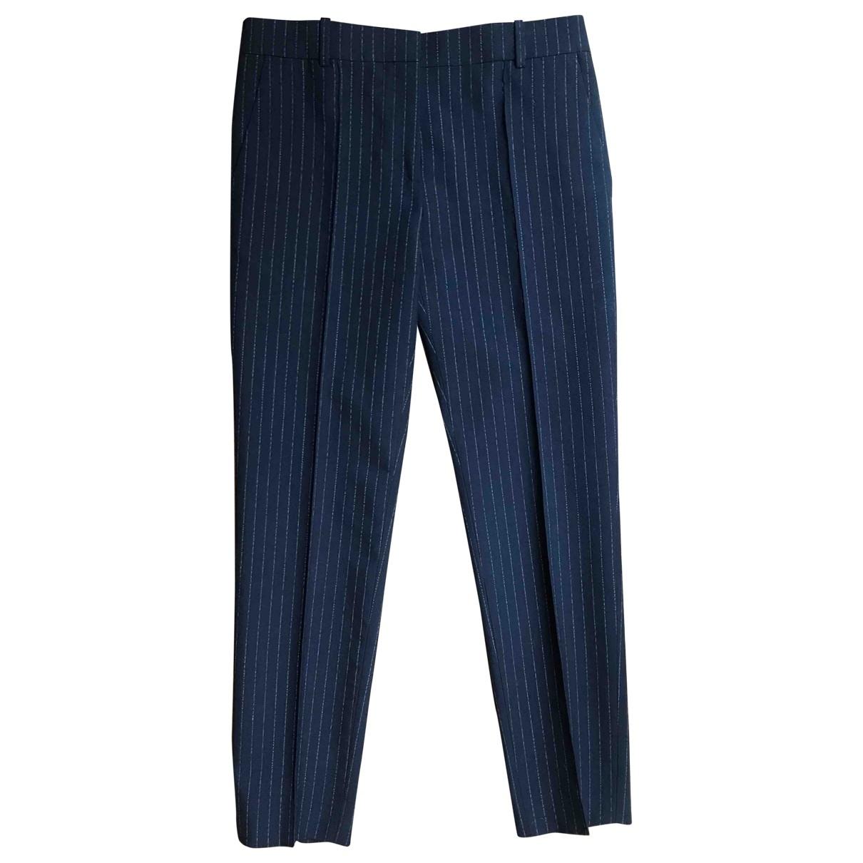 Celine \N Navy Wool Trousers for Women 36 FR