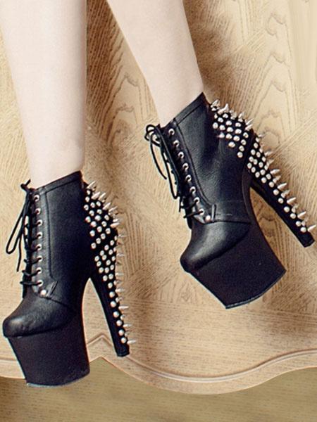 Milanoo Black Sexy Boots Women Platform Almond Rivets Lace Up High Heel Boots