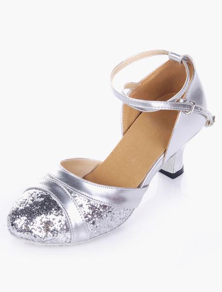 Milanoo Glitter Soft Sole Almond Toe Ballroom Shoes