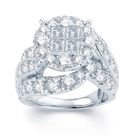 5 CT. T.W. Diamond Halo 14K White Gold Engagement Ring, 7 1/2 , No Color Family