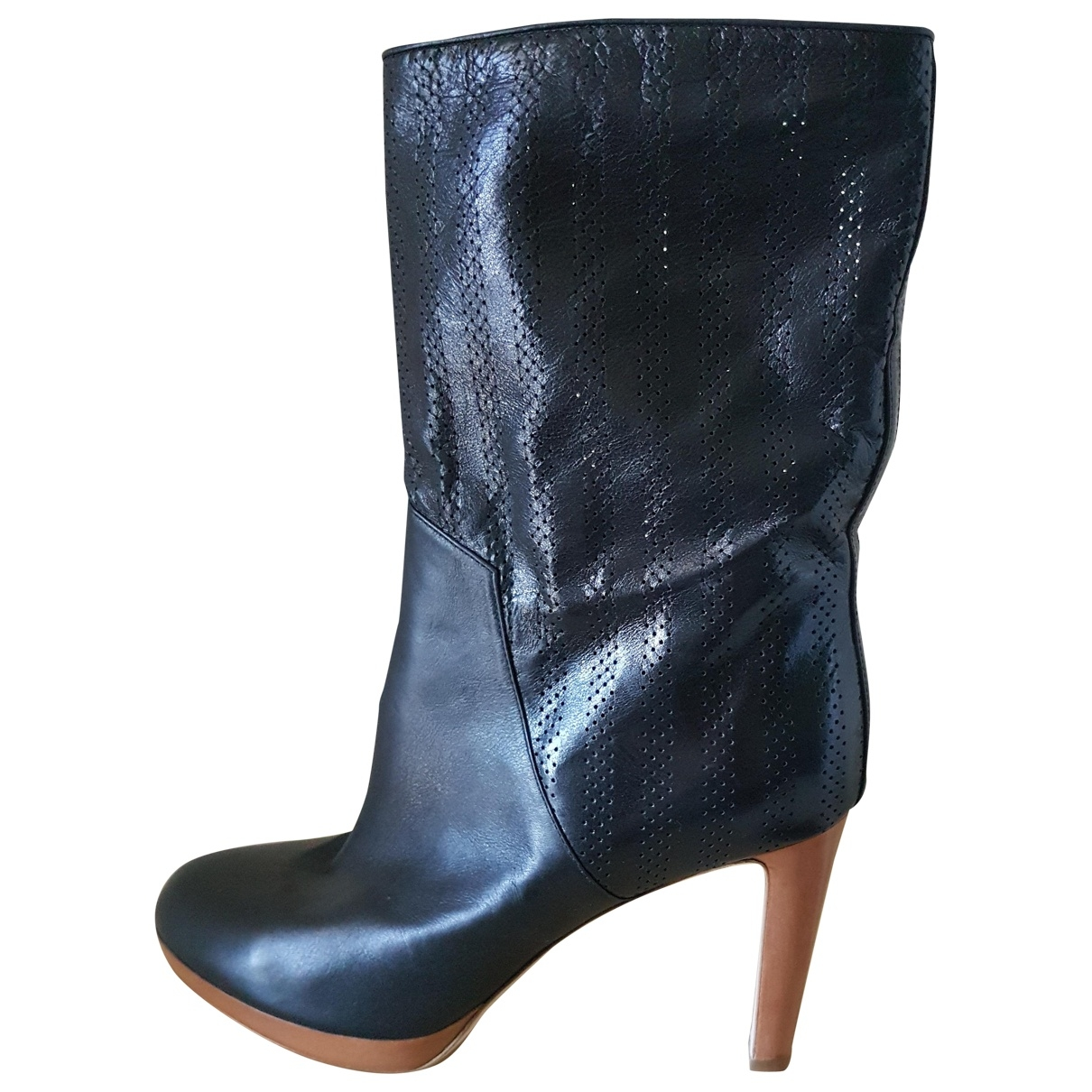 Sergio Rossi \N Black Leather Boots for Women 41 EU