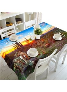 Amusing Cacti in the Sunset Scenery Pattern Home Decoration 3D Tablecloth