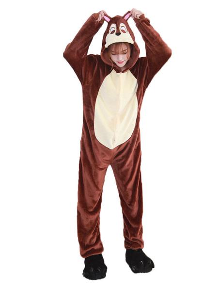 Milanoo Kigurumi Pajamas Chipmunk Brown Flannel Unisex Winter Sleepwear With Footwear Animal Halloween Costume