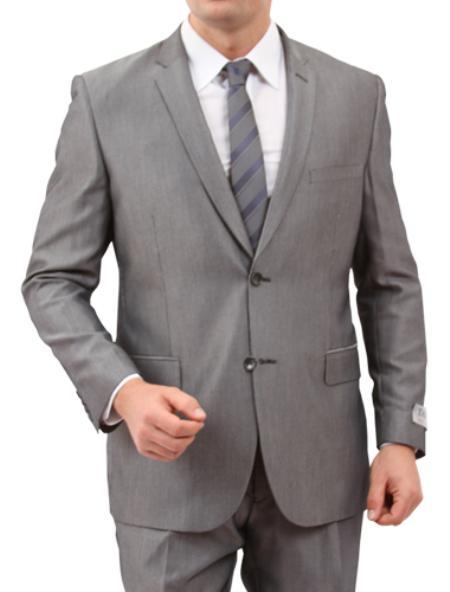 2 Button Solid Grey  Front Closure Suit Mens Cheap