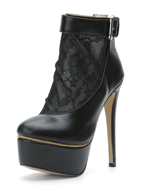 Milanoo Black Women Boots Platform Almond Lace Patchwork Buckle Detail High Heel Booties