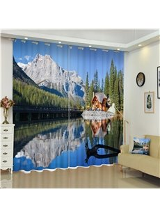 3D Mountains and Rivers with Bridge Printed Wonderful Scenery Decorative and Shading Curtain