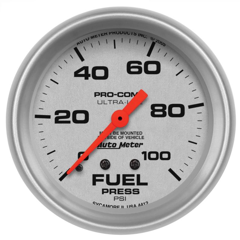 AutoMeter GAUGE; FUEL PRESSURE; 2 5/8in.; 100PSI; MECHANICAL; ULTRA-LITE