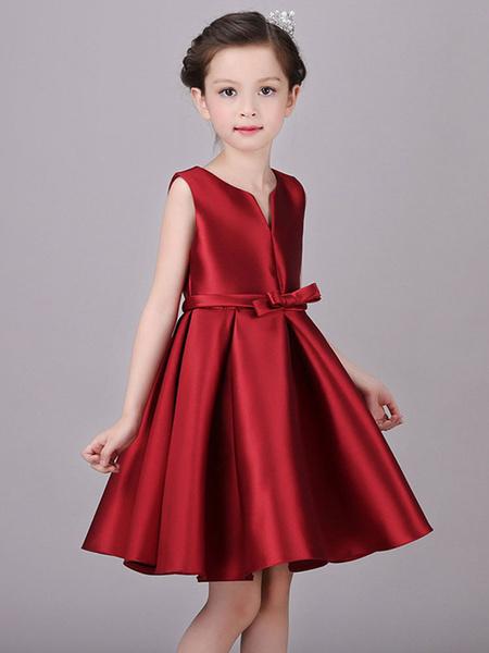 Milanoo Flower Girl Dresses Designed Neckline Satin Fabric Sleeveless Knee Length Princess Silhouette Bows Kids Social Party Dresses